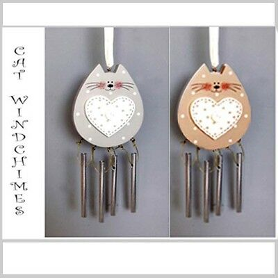 CAT WOOD & METAL WIND CHIME CAT SHAPE HANGING wind chime HOME OR GARDEN