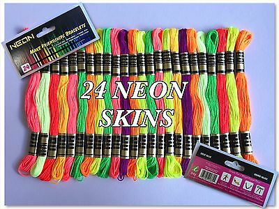 24 NEON Skein Polyester Thread Floss ( Fluorescent Colour Pack ) *Best Deal*