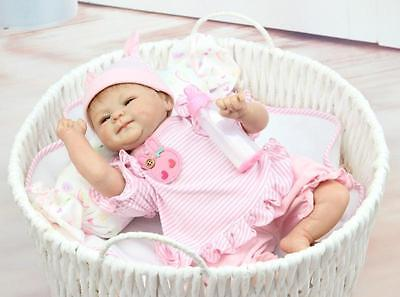 "18"" Soft Silicone Reborn Doll Lifelike Newborn Handmade Baby Girl Dolls Gifts"