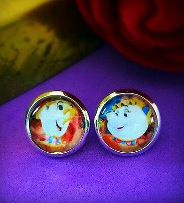 Disney Beauty And The Beast Mrs Potts And Chip Cute Pair Stud Earrings 10mm