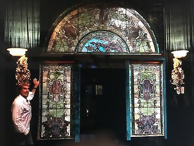 Tiffany studios monumental stained glass entryway