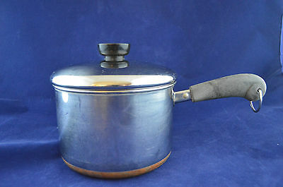 Vintage Revere Ware 2 Quart Sauce Pan Lid Rome NY Stainless Steel Copper Clad