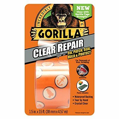 "Gorilla Clear Repair Duct Tape, 1.5"" x 5 yd., Clear New"