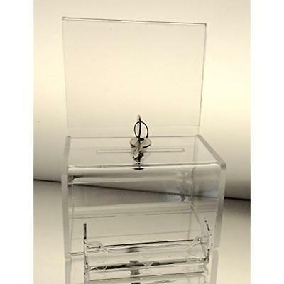 Dazzling Displays Clear Acrylic Mini Donation Box with Attached Business Card