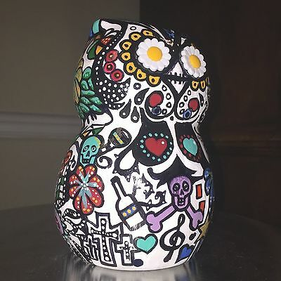 "Owl Dia De Los Muertos 6"" tall Ceramic handpainted day of the dead"