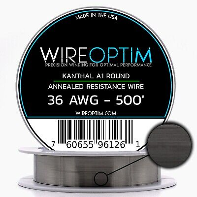 Kanthal 36 Gauge AWG A1 Wire 500' Roll .16002mm , 33.4 Ohms/ft Resistance
