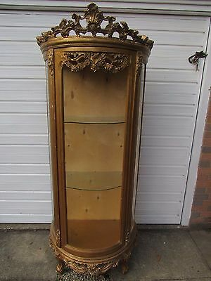 Stunning Regency styled gilded display cabinet requiring cosmetic restoration