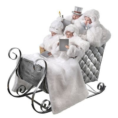 """MTX54551 20""""Carolers in Sleigh Victorian Frost White Christmas Figure Decoration"""