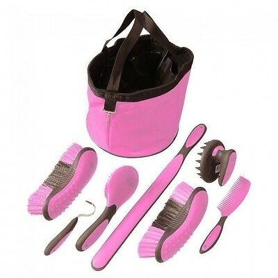 Tough-1 Ergonomic PINK 7 Piece Great Grip Grooming Set w/Tote  Brush Curry Comb