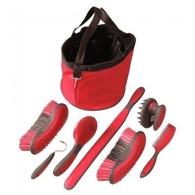 Tough-1 Ergonomic RED 7 Piece Great Grip Grooming Set w/Tote  Brush Curry Comb