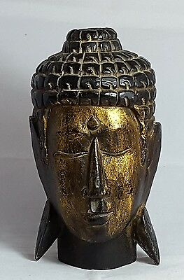 Beautiful Large Wooden Carved Buddha Head (Height - 25 cm)