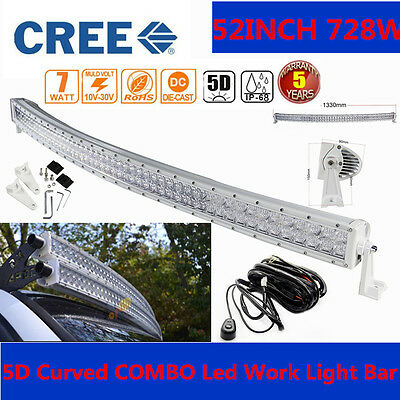 "5D CREE 728W 52""inch LED Curved WHITE Combo Work Light Bar Offroad  HARNESS SUV"