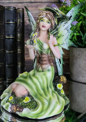 "7"" Tall Green Fairy with Earth Dragon Holding Crystall Ball Figurine Fantasy"