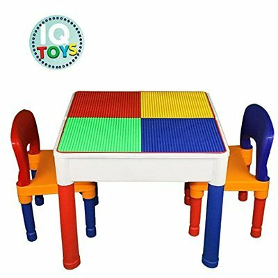 Kids Table & Chairs 3 in 1 Lego & Duplo Compatible plus Storage Play Set