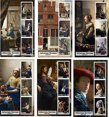 2015 Vermeer 6  Art Paintings Souvenir Sheets Mnh Unperforated