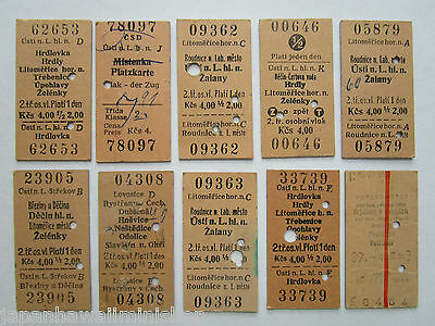 Edmondson Train Tickets Fahrkarten 10x Czechoslovakia ČSD Railways 1977 ~ 1985