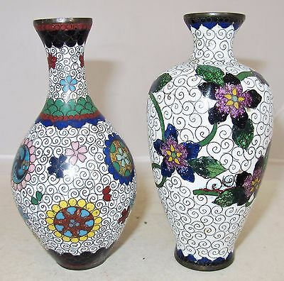 2 Antique Japanese White Meiji Cloisonne Vases With Flowers 51