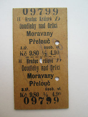 Edmondson War Train Ticket 3rd Class 1940 Bohemia & Moravia Böhmen 75 years old