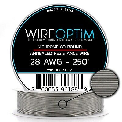 28 Gauge AWG Nichrome 80 Wire 250' Length - N80 Wire 28g GA 0.32 mm 250 ft