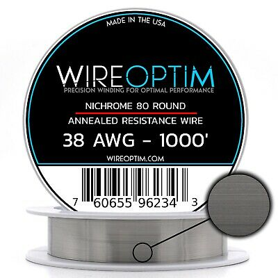 38 Gauge AWG Nichrome 80 Wire 1000' Length - N80 Wire 38g GA 0.10 mm 1000 ft