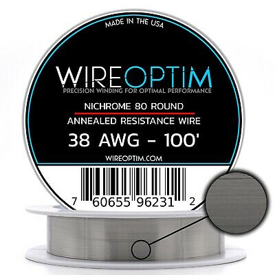Nichrome 38 Gauge AWG Wire 100' Roll 0.1007mm , 40.62 Ohms/ft Resistance