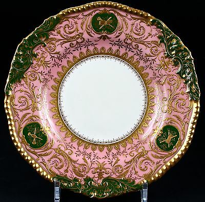 12 Coalport Pink and Green Heavily Gilded Plates: gold encrusted, gilt