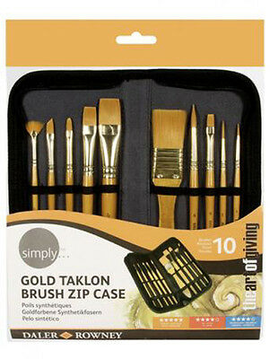 Daler Rowney Artist Brush Zip Up Case & 10 Paint Brushes for Acrylic Painting