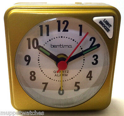 GOLD COLOR TRAVEL ALARM CLOCK QUARTZ CLEAR FACE ACCTIM Light Snooze with BATTERY