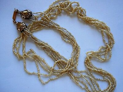 ANTIQUE 5 STRAND SEED PEARL NECKLACE  (1800s)