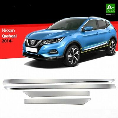 Fits Nissan Qashqai J11 2013Up Chrome Side Door Streamer 4Door 4Pcs S.Steel