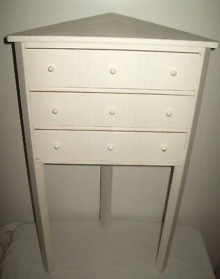 3 Drawer Wood Corner Table Accent Entry Demilune Foyer Entryway Hallway  White