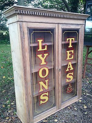 Antique Vintage Pine Haberdashery Shop Display Cabinet Glazed Bookcase.