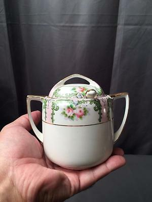 Vintage Noritake Mormura Brothers Hand Pained Jelly Jar Spoon Cabbage Roses.