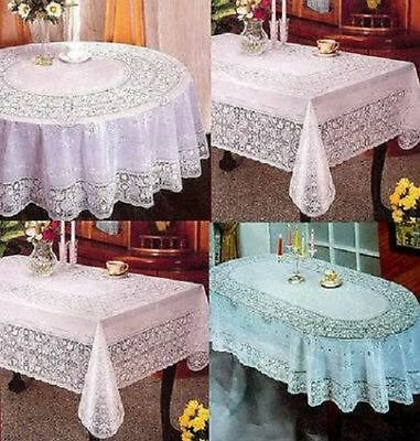 "72""x180Cm Round Vinyl Pvc White Embossed Lace Tablecloth Table Cover Kitchen"