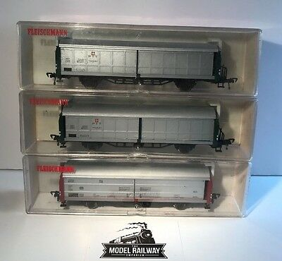 Fleischmann H0 Gauge Wagons - 5335/5336 X 2 - Freight Wagons X3 Preowned - Boxed