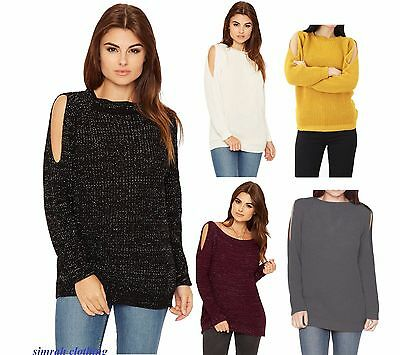 Womens Lurex Cable Knit Glitter Jumper Ladies Cut Out Cold Shoulder Long Sleeve