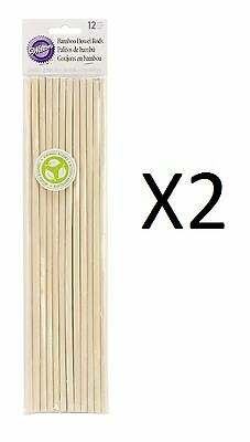 """Wilton Bamboo Dowel Rods 12 Pack 12"""" X 0.25"""" Eco-friendly Renewable (2-Pack)"""