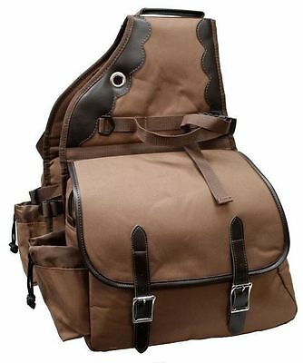 Deluxe Nylon Cordura Showman Saddle Bag Trail Pack Brown New Western Horse Tack