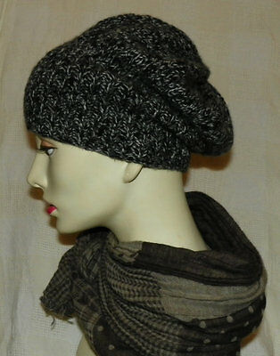 Handmade marl cashmere hat -black and charcoal
