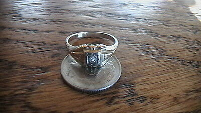 14K Yellow Gold With Old Cut Diamond Ring Size 4