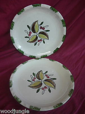 2 Vintage BLUE RIDGE  WILD CHERRY SOUTHERN POTTERIES  DINNER PLATE NICE!