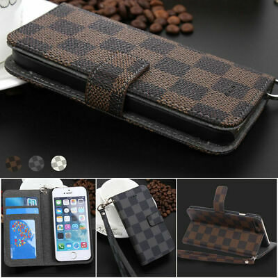 Luxury Grid Deluxe Leather Wallet Flip Case Cover For Apple iphone 6 and 6S PLUS