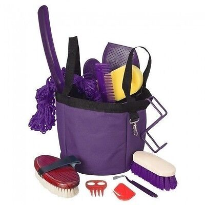 12 Piece Purple Deluxe Show Grooming Set w/Tote Brushes Hay Net Combs Curry More