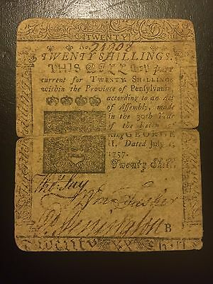 1757 Twenty 20 Shillings Pennsylvania Colonial Currency Benjamin Franklin D Hall
