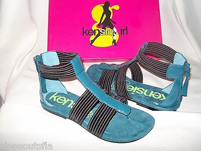 Kensie Size 5.5 M Teal Blue Black New Womens Sandals Shoes