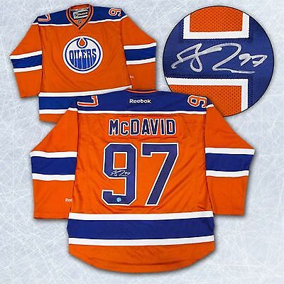 Connor McDavid Edmonton Oilers Signed Orange Reebok Premier Jersey-AJ Sports COA