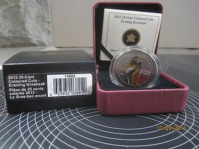 "25 Cent oversize Coloured Coin  Canada 2012 Colorful Birds ""Evening Grosbeak"""