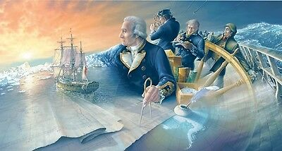 First to the Farthest South [HMS Endeavour] Artist Brian Wood, Captain J. Cook