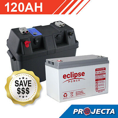 120AH 12V Eclipse Deep Cycle AGM Powered Battery Box Combo