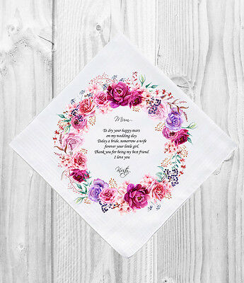 Mother of the Bride Wedding Gift Favour Personalised Handkerchief Hankie